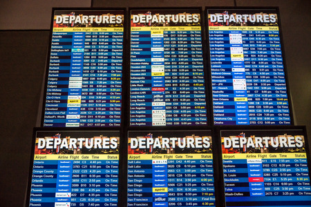 Las Vegas, NV - Jan. 9m 2016: Airline departure board from Las Vegas, to everywhere Editorial