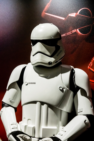 Las Vegas, NV - Jan. 8, 2016: A Star Wars Stormtrooper makes an appearance at the 2016 Consumer Electronics Show CES and poses with attendees.