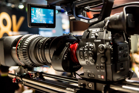 Las Vegas, NV - Jan. 8, 2016:  A close-up of a new Canon professional video camera on display at the 2016 Consumer Electronics Show CES in Las Vegas.