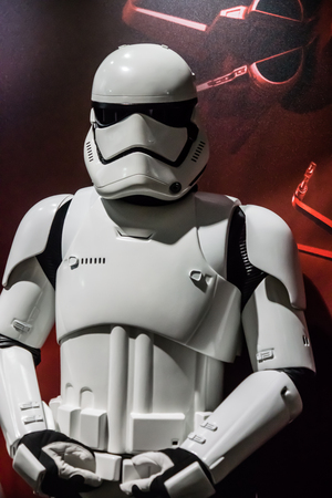 stormtrooper: Las Vegas, NV - Jan. 8, 2016: A Star Wars Stormtrooper makes an appearance at the 2016 Consumer Electronics Show CES and poses with attendees.