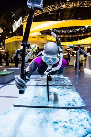 Las Vegas, NV -  Jan. 9, 2016: A  snorkeler model demonstrates the applications for GoPro cameras at the 2016 CES exhibition in Las Vegas.