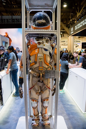 spacesuit: Las Vegas, NV - Jan. 9, 2016: A  spacesuit from the movie The Martian is displayed at the GoPro exhibit at the 2016 CES exhibition in Las Vegas.
