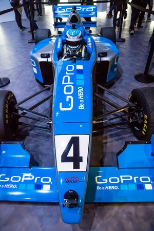 Las Vegas, NV -  Jan. 9, 2016: A  formula-1 race care is displayed at the GoPro exhibit at the 2016 CES exhibition in Las Vegas.