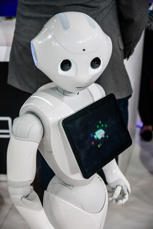 Las Vegas, NV - Jan. 8, 2016: A state-of-the-art robot steals the shows at the 2016 Consumer Electronics Show CES in Las Vegas.