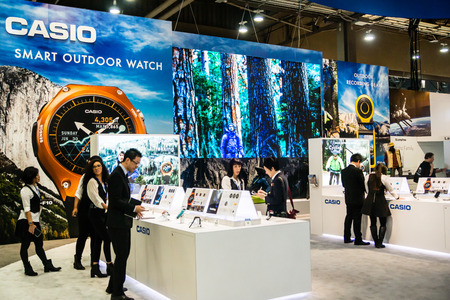 visitors: Las Vegas, NV - Jan. 8, 2016: Visitors gaze at the new line of Casio smart watches at the 2016 Consumer Electronics Show CES in Las Vegas.