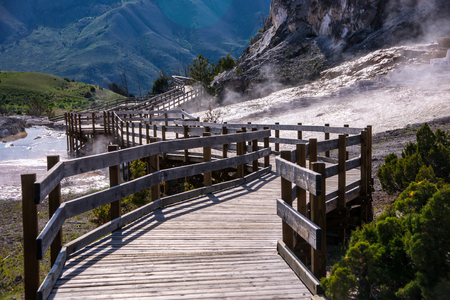 mammoth: Wooden boardwalks traverse the surreal landscape at Mammoth Hot Springs.