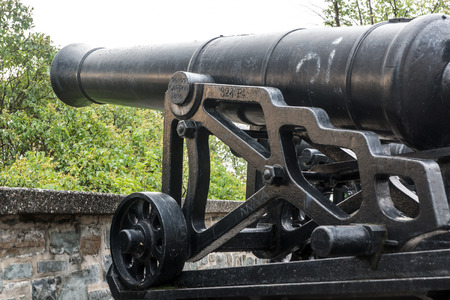 Historic cannons remain along the ramparts of Quebec Citys walled fortress