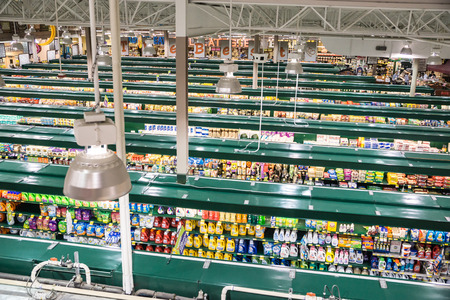 aisles: Falls Church, VA, USA - October 25, 2015: An unusual high vantage point provides an overview of a modern, tw0-story grocery store catering to demands for quality and organic products. Editorial
