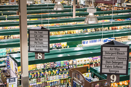 Falls Church, VA, USA - October 25, 2015: An unusual high vantage point provides an overview of a modern, tw0-story grocery store catering to demands for quality and organic products. 新聞圖片