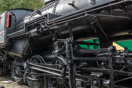 Black steel and iron symboloize the raw power of ealry 20th century steam locomotives. 版權商用圖片