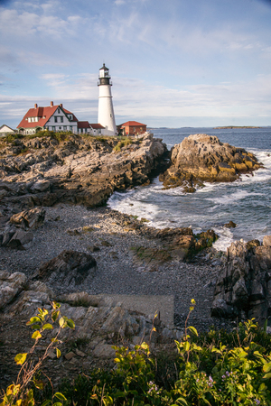 View of the landmark Portland head lighthouse in Maine on a summers day.