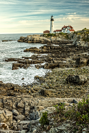 View of the landmark Portland head lighthouse in Maine.