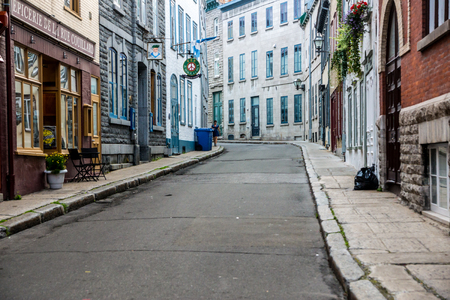 await: Quebec City, Quebec, Canada - Sept. 8, 2015:  Empty streets in early morning await the rush of spectators expected for Quebecs international grand prix cycling event.