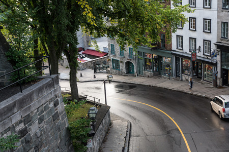 Quebec City, Quebec, Canada - Sept. 9, 2015: The Old City of Quebec has an upper and lower section; the lower area is the old port, located outside the fortress walls.