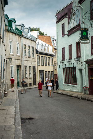 Quebec City, Canada - Sept. 8, 2015: Quebecs Old City   that retains a European charm and style uncommon to the New World. 新聞圖片