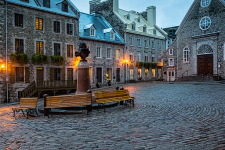 Quebec City, Quebec, Canada - Sept. 9, 2015:  Night brings a romantic character to the old stone buildings of historic Quebec City. Founded in 1608,