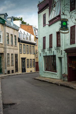 uncommon: Quebec City, Canada - Sept. 8, 2015: Quebecs Old City     that retains a European charm and style uncommon to the New World.