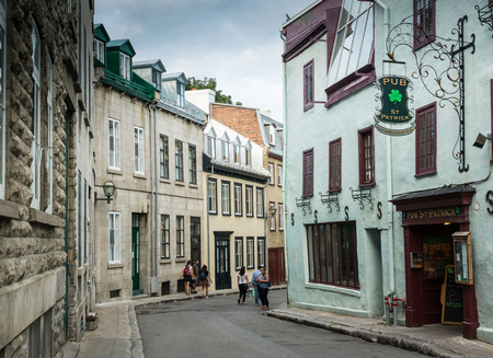 uncommon: Quebec City, Canada - Sept. 8, 2015: Quebecs Old City  retains a European charm and style uncommon to the New World.