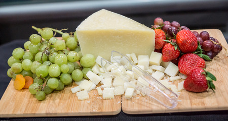 Fruit and cheese pairings on display for discriminating tastes. Stock Photo