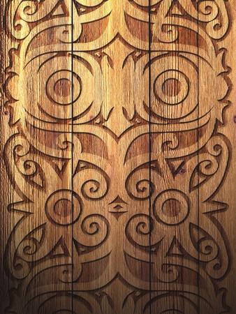 crafting: Dayak artesan�a en madera Foto de archivo