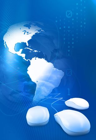 Computer mouses with globe, trails  and digits Stock Photo - 5822808