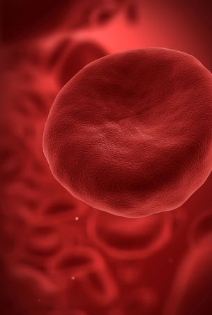 cgi: Human blood cell with red blood cells in background CGI Stock Photo