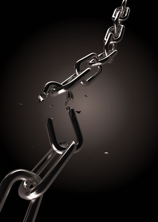 broken unity: Metal chain with broken part and falling pieces Stock Photo