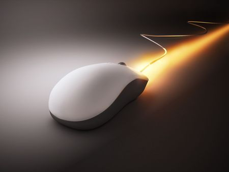 technology metaphor: High speed white mouse with rocket fire