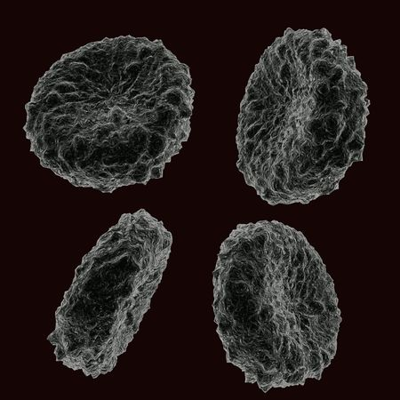 microcosmic: Four blood human cells in different positions