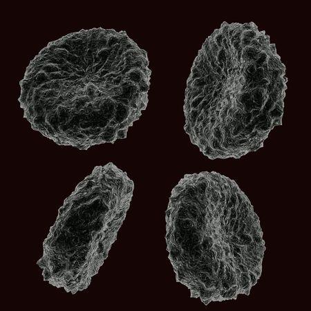 human pile: Quattro cellule umane di sangue in posizioni diverse  Archivio Fotografico
