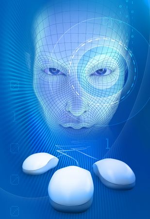 Mysterious face with mice and digits on blue Stock Photo - 5931137