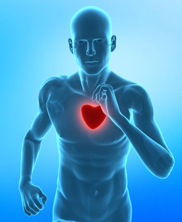 Running man with glowing red heart photo