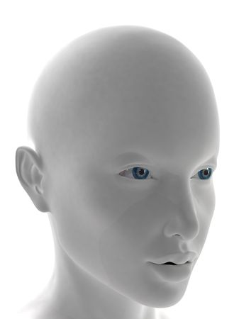 mystique: Computer generated female face with blu eyes
