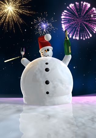 Frozen snowman drink champagne with fireworks in background photo