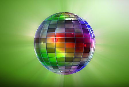 mirrorball: Multicolor ball with grid pattern on white