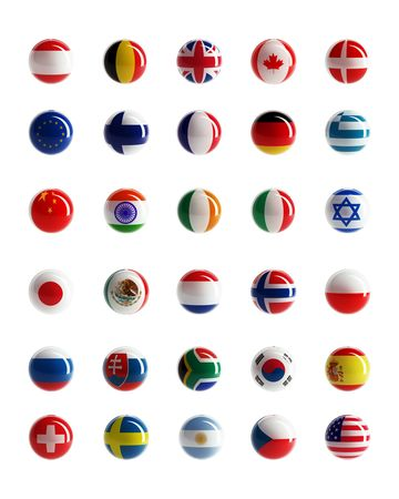 Buttons with country flags pattern on white backhround isolated photo