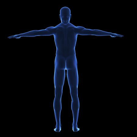 chest x ray: Raggi x corpo umano da dietro su sfondo mancanza isolato