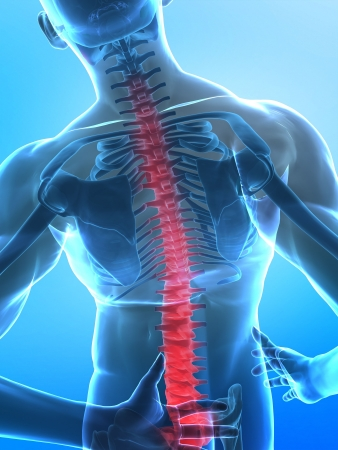 Man with pain in spine part - x-ray view with selected bootoom part photo
