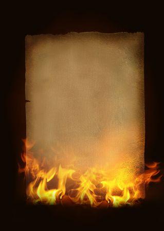 gebrannt: Vintage Papier Withhot Flammen und Feuer Lizenzfreie Bilder