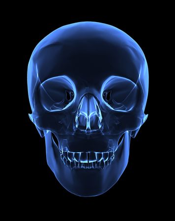 x xray: Isolated human x ray skull on black background - front view