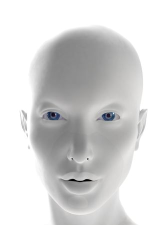 mystique: Computer generated female white plastic face with blu eyes - front view