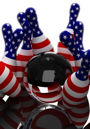 straight pin: Bowling glass ball strikes america flag pattern pin