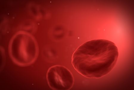 Red blood cell in front with small white particles Stock Photo - 6150558