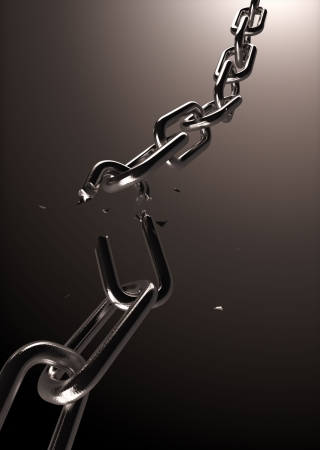 broken unity: Broken steel chain part with small cain pieces