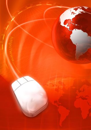 Planet earth with computer  mouse with map in background Stock Photo - 6150560