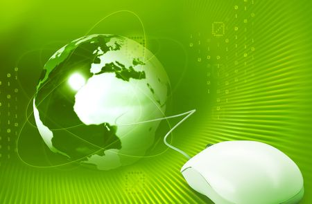 Computer mouse with green globe and digits Stock Photo - 6150575