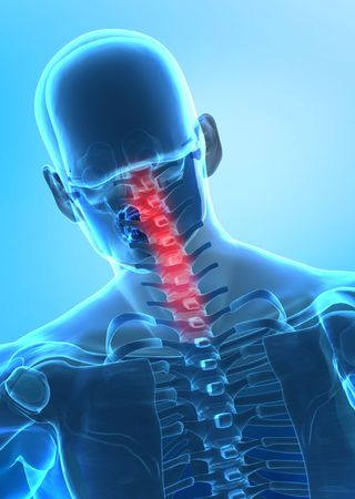 rear view: X-ray rear view of human cervical spine Stock Photo