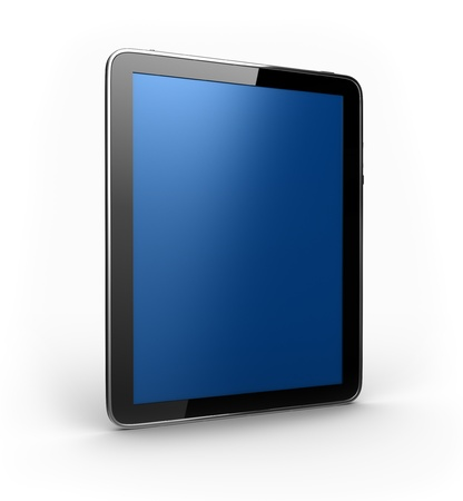 Digital Tablet with blue screen in perspective photo