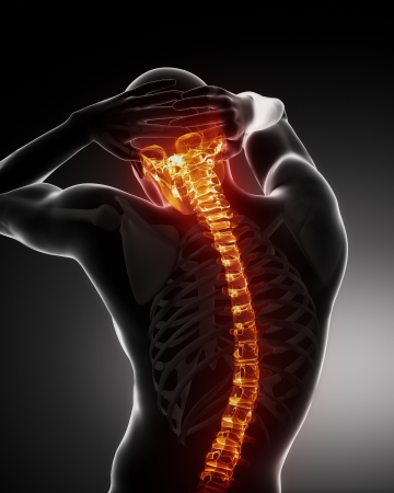 dolor de espalda: Análisis de columna vertebral de cuerpo masculino