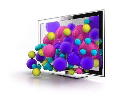 fullhd: Color world jumping from NextGen TV Stock Photo